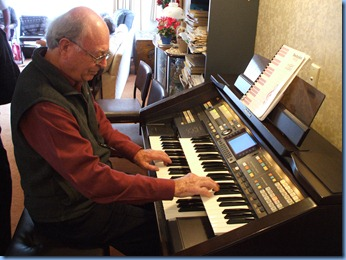 Our Past President and host for the day, George Watt playing his Technics GA3 organ