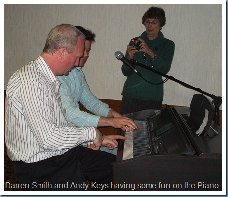 Some fun and frolics as well with a piano duet whilst the Club Secretary, Colleen Kerr, capture the moment on camera.