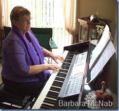 Barbara McNab enjoying the Clavinova