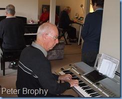 Peter Brophy (foreground), Jim Nicholson on Clavinova and Skip Eade on Tyros 3 having a jam session.