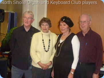 The North Shore Organ and Keyboard Club players. Left to Right: Gordon Sutherland (Club President); Colleen Kerr (Club Secretary); Carole Littlejohn (Distinguished Member); Peter Brophy (Events Manager)