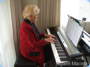 Ngaire McRae savouring the Korg SP250 digital piano