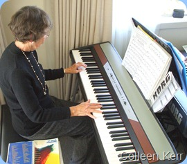 Colleen Kerr entertaining us on the Korg SP250 digital piano