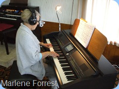 Marlene Forrest working-up some songs to check the compatibility of the Clavinova with her Clavinova at home.