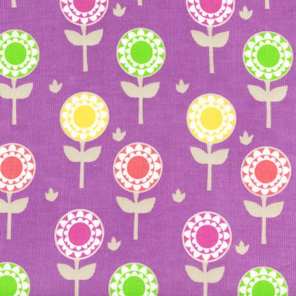 Lollipop Flowers on Amethyst Corduroy - BTP