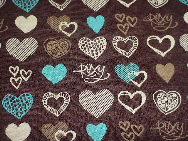 Roxy Hearts on Brown Slub Jersey