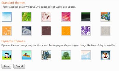 New themes - standard and dynamic ones - in Windows Live Hotmail account