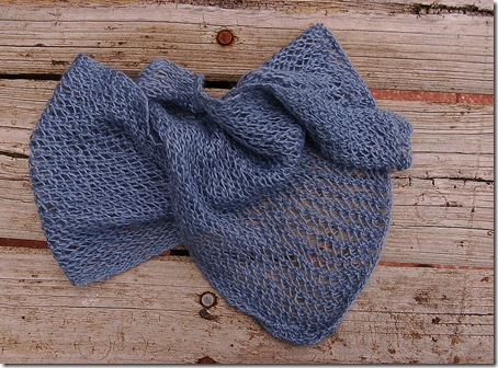 Jill's knitted and dyed alpaca scarf