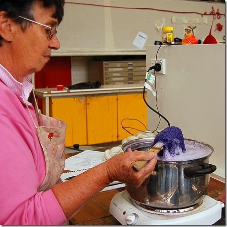 Jill dyeing shawl