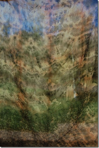 over dyed wrapped around old iron peg through window