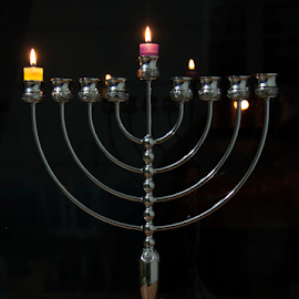 Menorah by Yuval Shlomo - Artistic Objects Antiques ( candle, light, menorah )