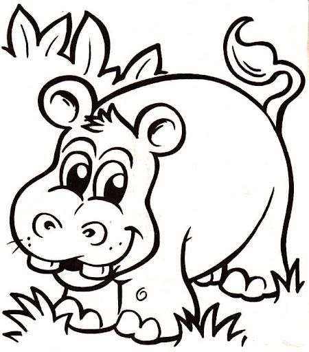 Hipopotamos, dibujos para pintar y colorear de hipopotamos de la serie ...