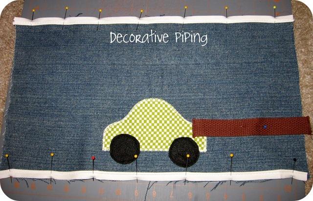 cozy car caddy decorative piping