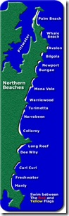 Map of northern ocean beaches