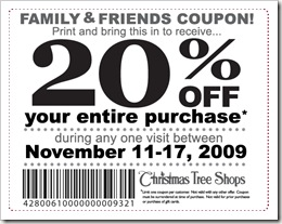 christmas tree shop coupon
