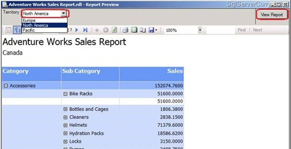 Sales Report Dropdown