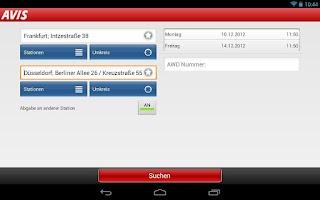 Screenshot of Avis für Tablet
