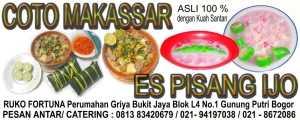 jual Coto Makassar dan Pisang Ijo Asli