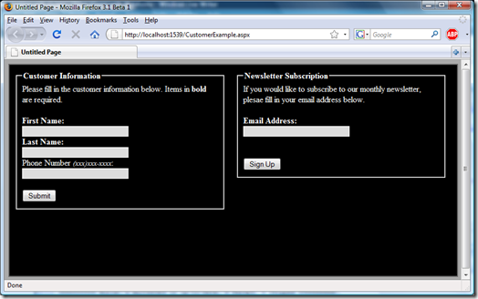 Starting with jQuery - Example Screenshot
