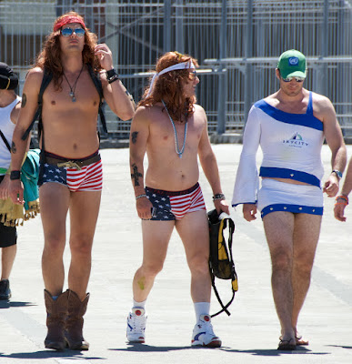 men wearing U.S. flag as underwear as costume at Wellington Sevens Rugby tournament