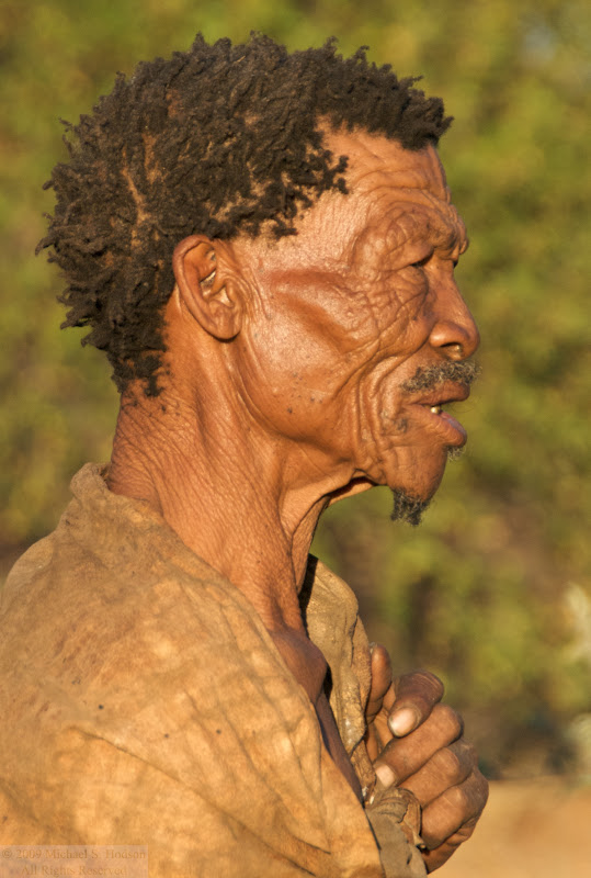 Bushman in Africa, face wrinkles close up