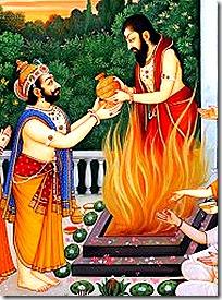 Dashratha receiving the payasam