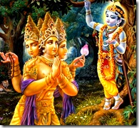 Lord Brahma offering prayers to Krishna