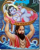 Vasudeva carrying baby Krishna to safety