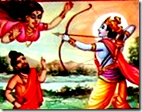 Lord Rama fighting a Rakshasi