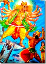 Narasimhadeva coming to kill Hiranyakashipu