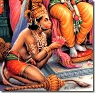 Hanuman serving Rama's lotus feet