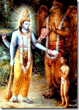 Dhruva blessed by Vishnu