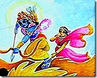 Krishna battling the demigods