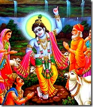 Lord Krishna holding up Govardhana Hill