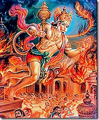 Hanuman setting fire to Lanka