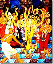 Lord Chaitanya and associates chanting Hare Krishna