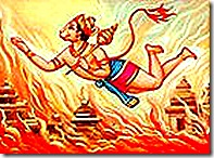 Hanuman destroying Lanka