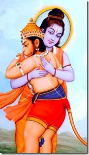 Lord Rama hugging Hanuman