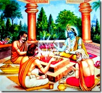 Lord Krishna performing sacrifices