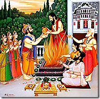 King Dasharatha performing a sacrifice