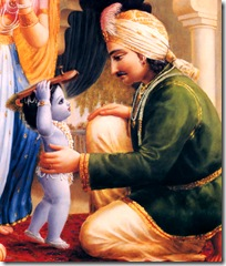 Krishna bringing slippers to His father