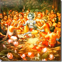 Lord Krishna eating lunch with cowherd friends