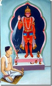 Tulsidas worshiping Hanuman