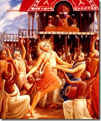 Lord Chaitanya dancing in front of Lord Jagannatha