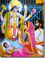 Vasudeva and Devaki offering obeisances to Krishna