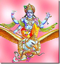 Lord Vishnu riding on Garuda