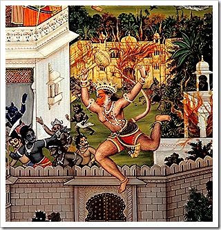 Hanuman laying waste to Lanka