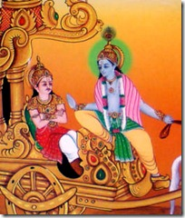 Krishna speaking to Arjuna