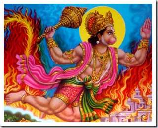 Hanuman burning Lanka