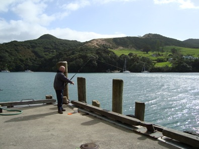 Phil fishing at Port Fitzroy.